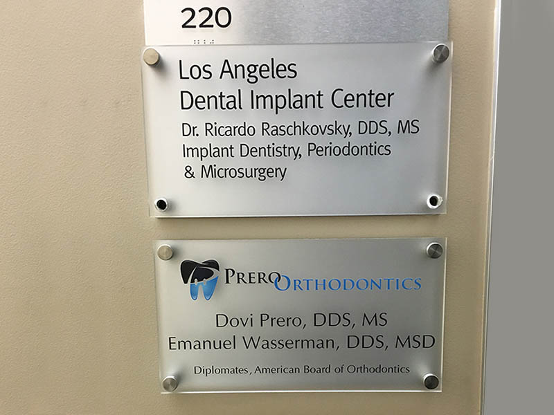 Door Sign, Prero Orthodintics in Beverly Hills