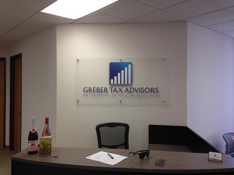 Lobby Sign, Greber Tax Advisors in Laguna Hills