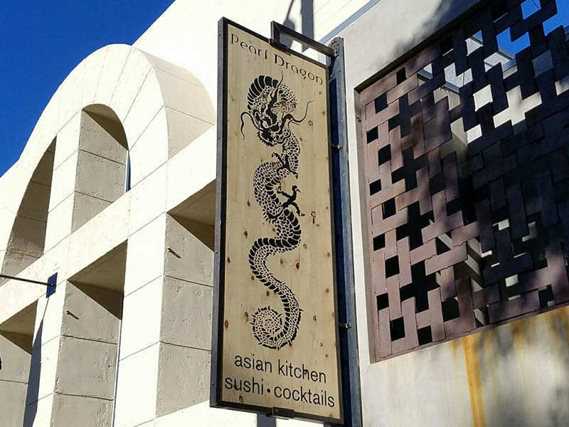 Custom Wood Sign, Pearl Dragon in the Pacific Palisades
