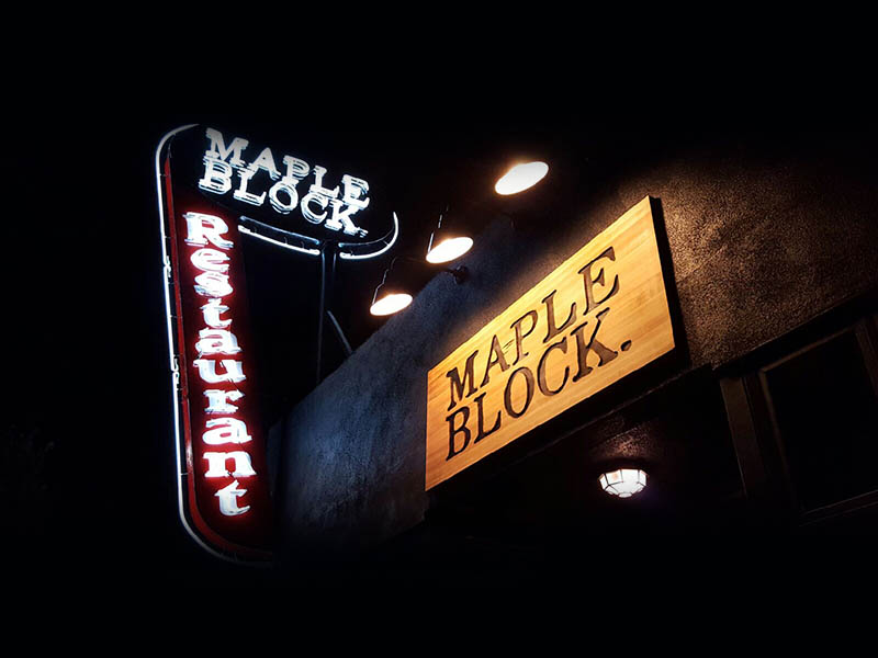 Custom Wood Sign and Neon Sign, Maple Block in Culver City, neon sign, neon signage, illuminated sign