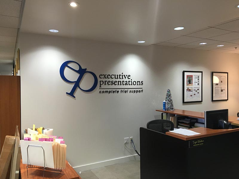 Lobby Sign, Executive Presentations in Downtown Los Angeles