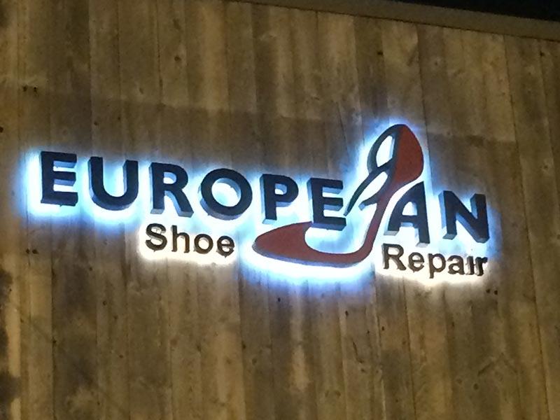 Reverse Channel Letters, European Shoe in Malibu