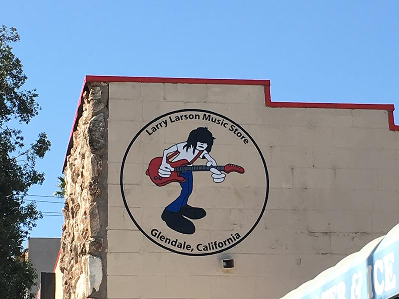 Hand Painted Sign, Larry Larson Music Store in Glendale