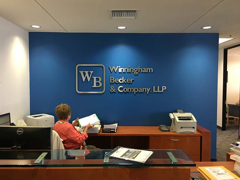 Brushed Metal Lobby Sign, Winningham Becker & Company in Woodland Hills