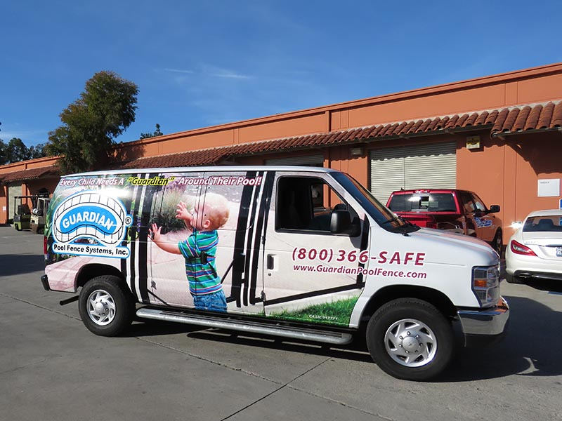 Vehicle Wrap, Guardian Pool Fence Systems