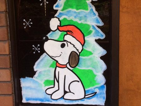 Holiday Window Painting, MG Skinner & Associates in Los Angeles