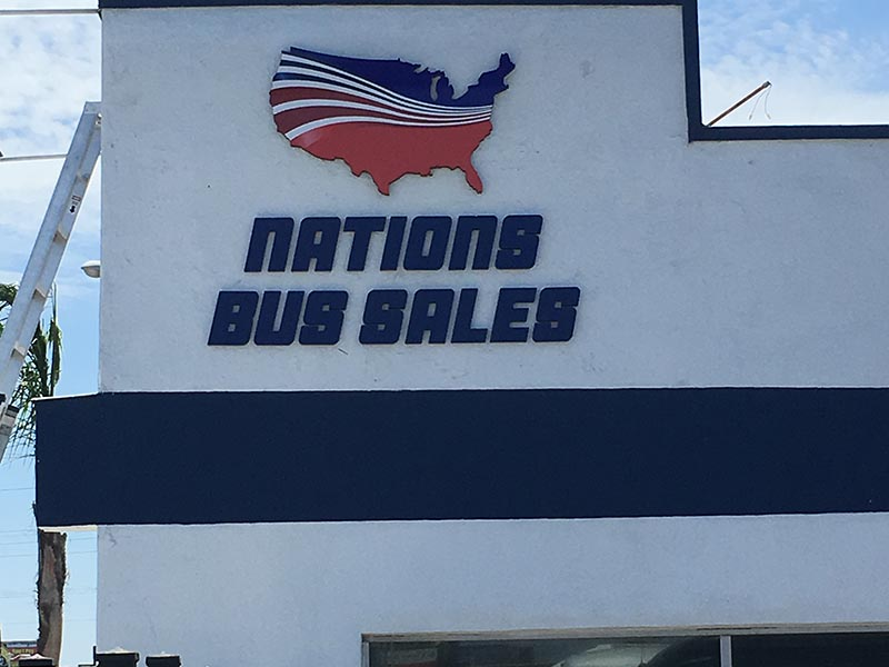 Custom Business Sign, Nations Bus Sales in Inglewood