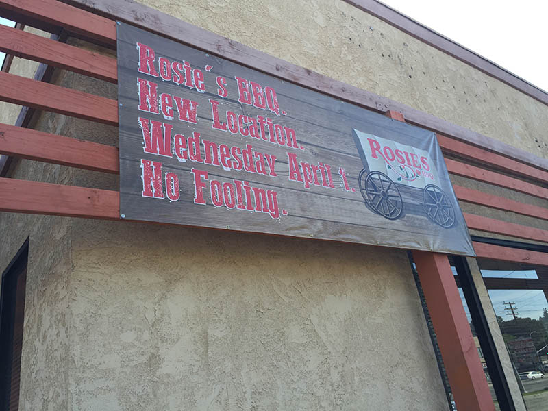 Custom Banner, Rosie's BBQ in Northridge