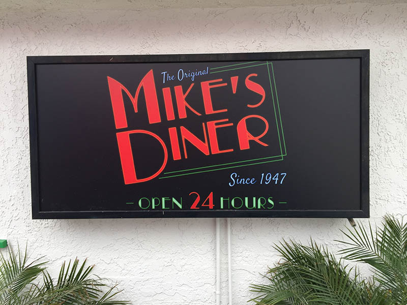 Lightbox Sign, Mike's Diner in Valencia