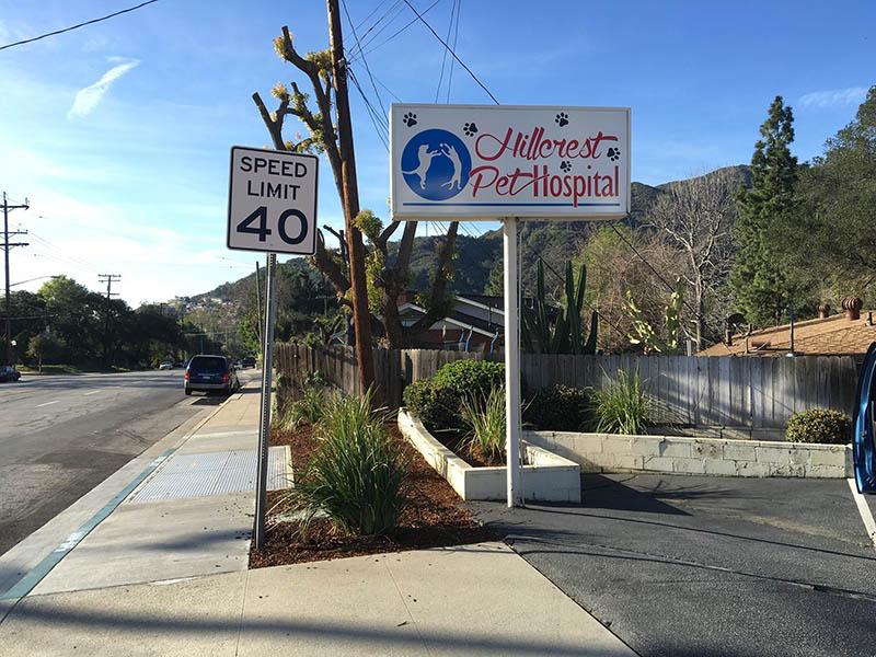 Pole Sign, Hillcrest Pet Hospital in Pasadena