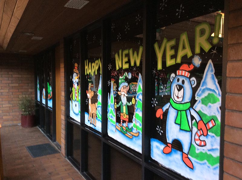 New Years Window Painting, MG Skinner & Associates in Los Angeles