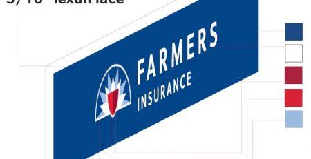 Premium Sign Solutions, pylon insert, cut vinyl, vinyl, farmers, insurance, fabrication, slice of life, fabrication, production, design, detail, attention to detail, Tarzana, Los Angeles, signmaking, signmaker