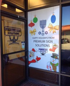 holiday graphics, window graphics, window painting, holiday signs, holiday decoration, storefront sign, business sign