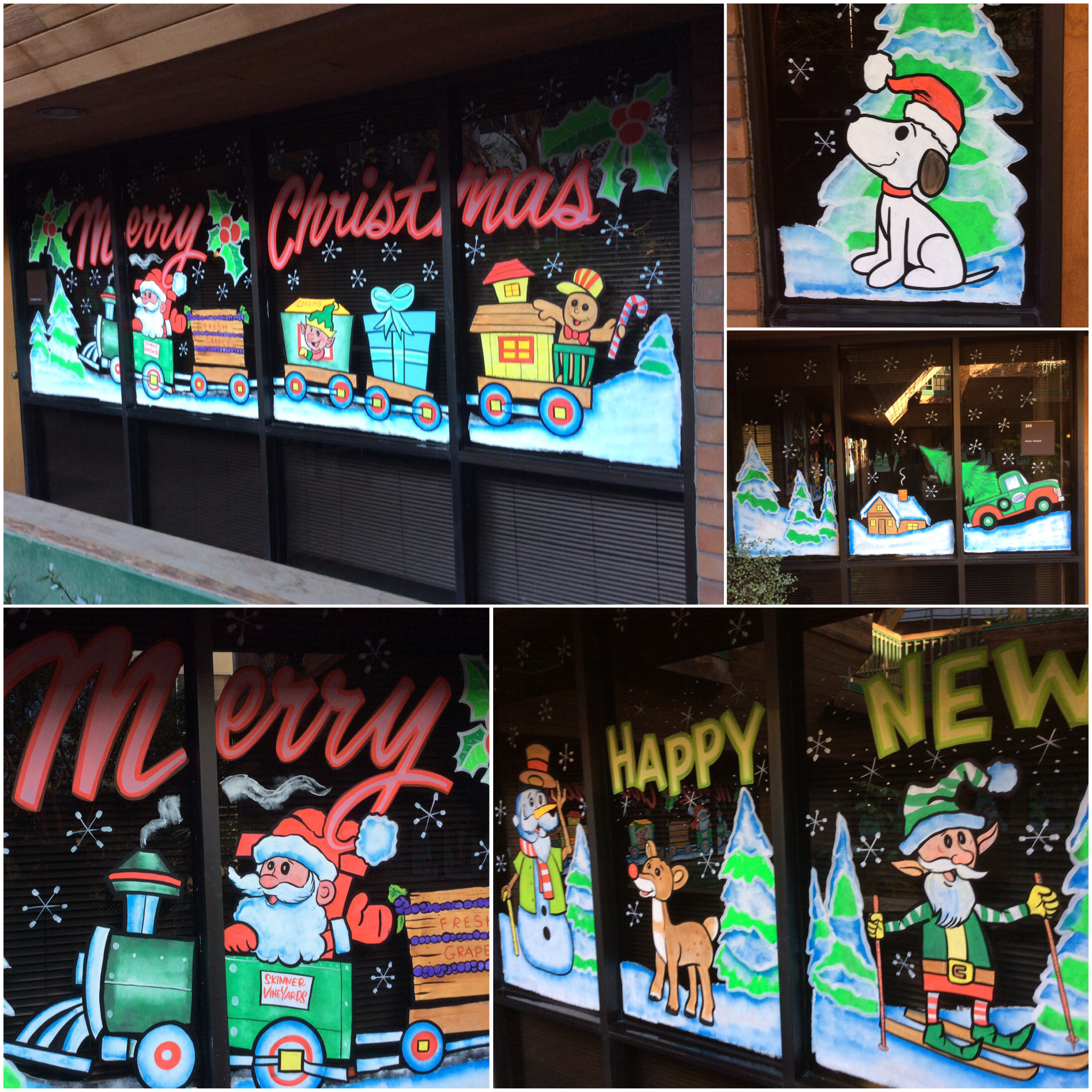 storefront sign, business sign, holiday sign, holiday graphics, window painting, window art, Christmas decorations, painted sign, window graphics, merry christmas, happy new year, happy holidays, west los angeles