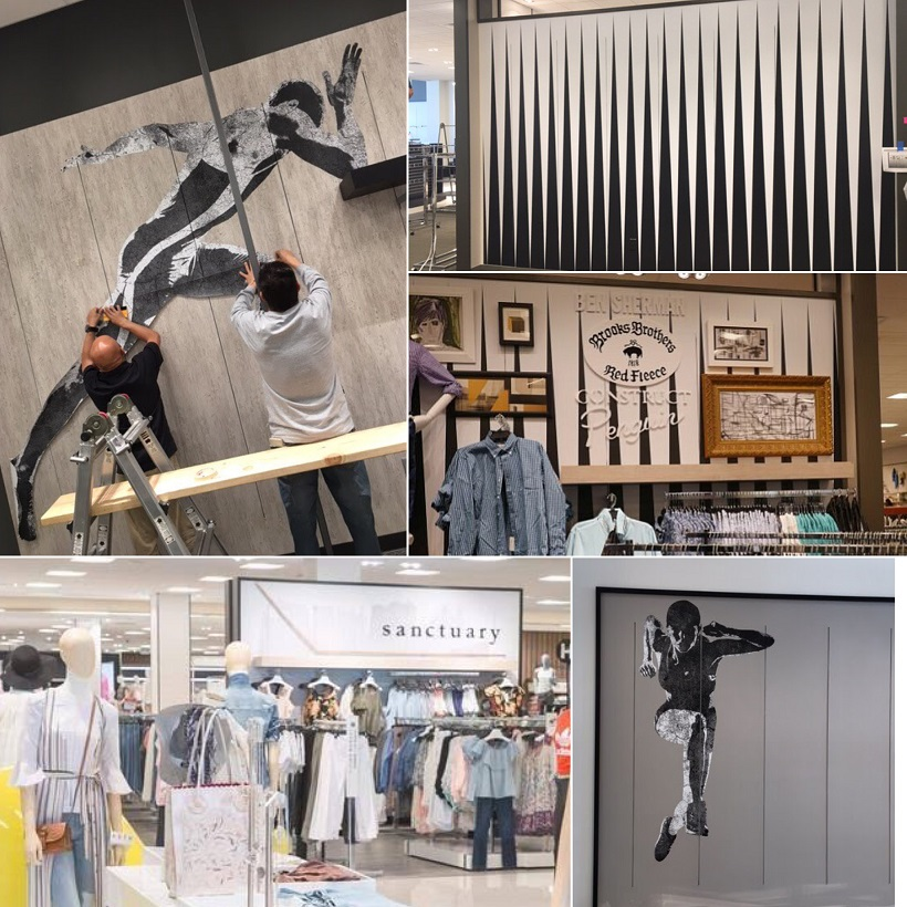 wall graphics, department store art, wall art, retail store decoration, retail displays