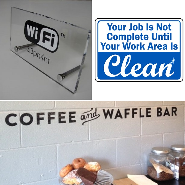 Office manager, facilities manager, workplace signs, office signs, helpful signs, wifi sign, coffee sign, kitchen signs