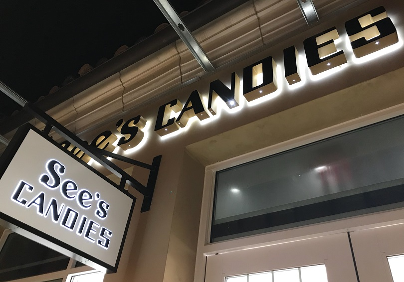 blade sign, lightbox sign, channel letters, business sign, outdoor sign, storefront sign, Calabasas, See's Candies