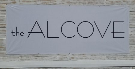 banner, temporary sign, vinyl sign, business sign, storefront sign, malibu, the alcove, store sign, fashion store, custom banner