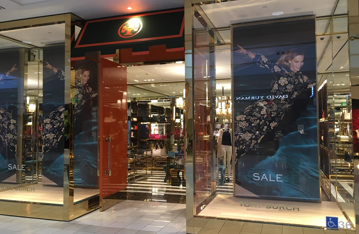 vinyl graphics, banners, storefront signs, retail displays, fashion company, fashion sign, Beverly Hills, Woodland Hills, Santa Monica, Glendale