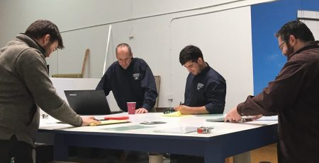 team meeting, sign company, sign makers, Los Angeles, San Fernando Valley, workplace, garage