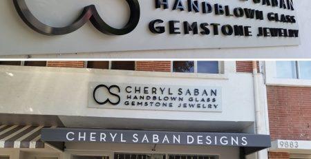 high-end signage, custom sign, outdoor business sign, metal sign, window graphics, vinyl lettering, Beverly Hills, cheryl saban designs