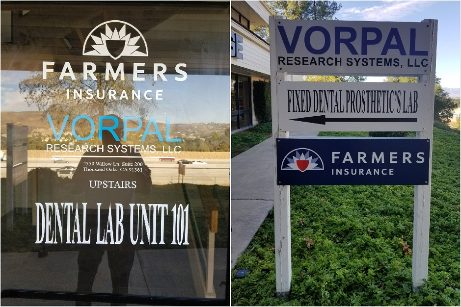 aluminum sign, monument sign, business sign, window graphics, outdoor sign, vinyl sign, Farmers Insurance, Thousand Oaks, Westlake