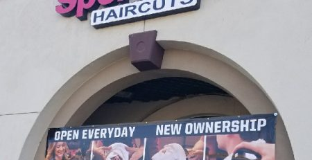 banner, business sign, outdoor sign, vinyl sign, Encino, Sports Clips Haircuts, haircuts