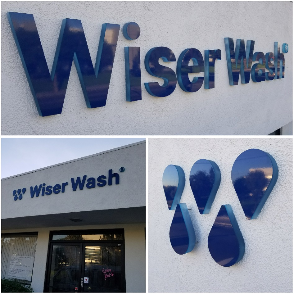 storefront sign, business sign, dimensional letters, acrylic sign, outdoor sign, wiser wash, paramount
