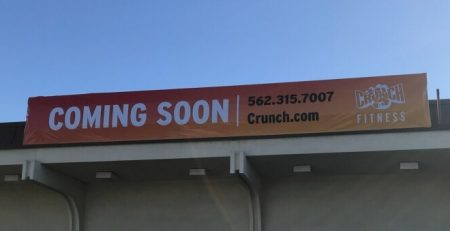 Temporary signs, Pre sale banners, custom banner, outdoor sign, gym sign, Crunch Fitness, La Mirada
