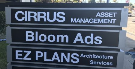 monument signs, custom built signs, modern signage, stylish signs, building signs, brushed metal signs, woodland hills, cirrus