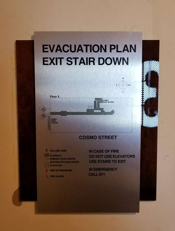 Evacuation Signs for Cosmo Lofts in Hollywood | Premium ...
