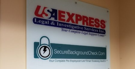 usa express, woodland hills, glass sign, vinyl, business sign, lobby sign, reception sign, custom business sign, sign maker near me