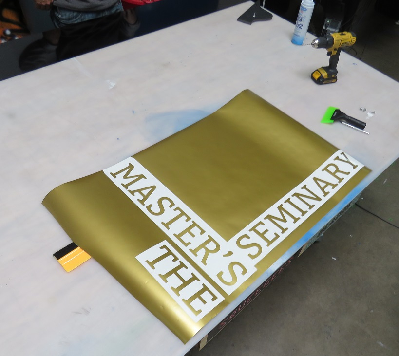 Cut Vinyl Metal Sign for Master's Seminary in Los Angeles