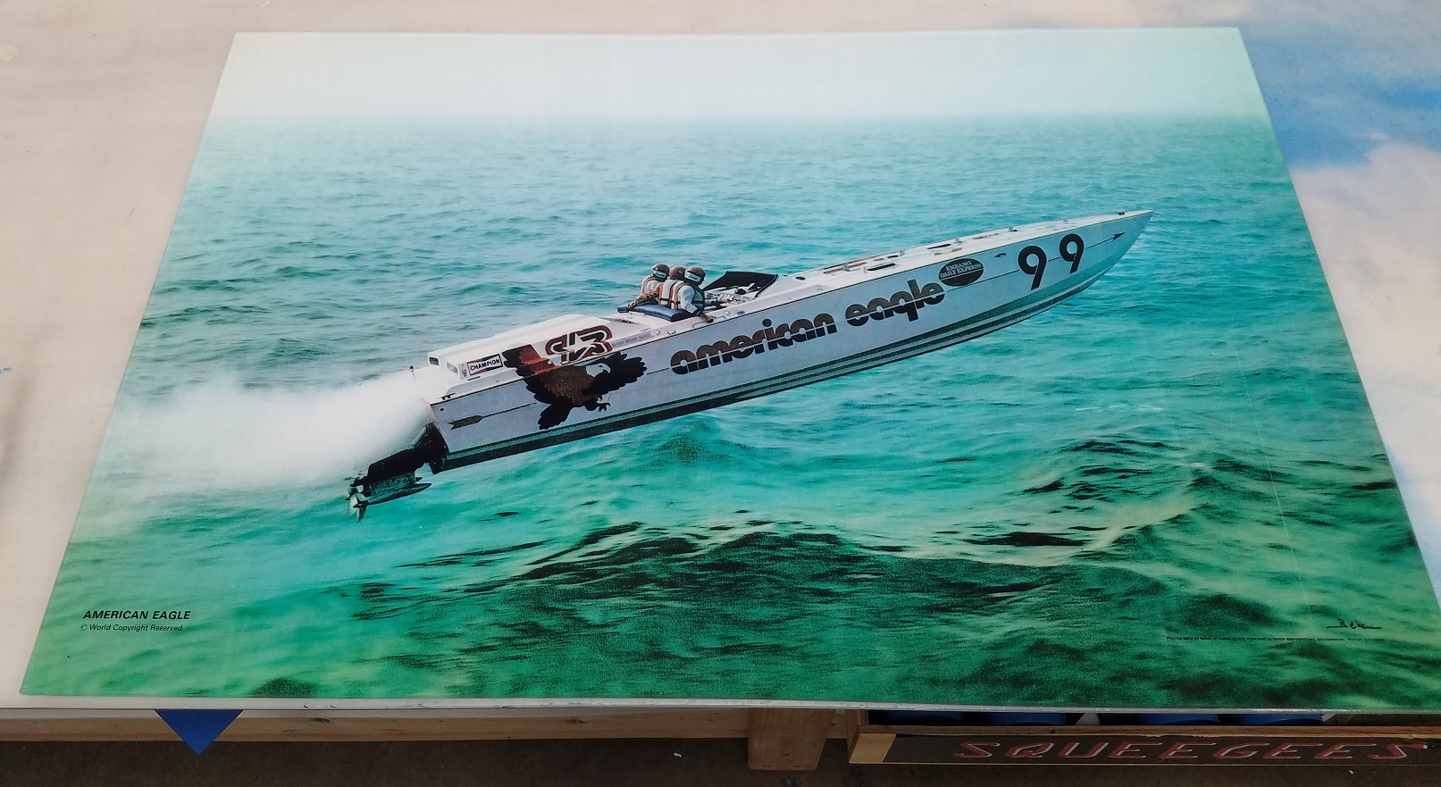 acrylic wall decor, vintage photo touch up, custom photography project, custom home decor, full color printed vinyl, speedboat