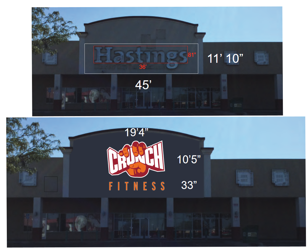 design process, mockups, crunch fitness, gym signs, fitness signs, building signs, channel lettering, custom channel letters, large signs, exterior signs, illuminated signs