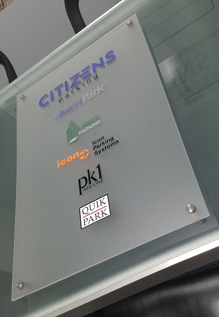 lobby signs, logo sign, vinyl signage, frosted acrylic, frosted glass, custom lobby signs, office signs, sign makers, sign company, interior sign