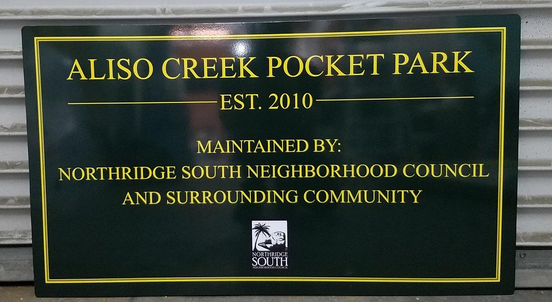sign company, sign maker, pocket park, park, metal signs, park signs, pantone matched signage, vinyl signs, sign companies, sign makers, exterior signs, northridge