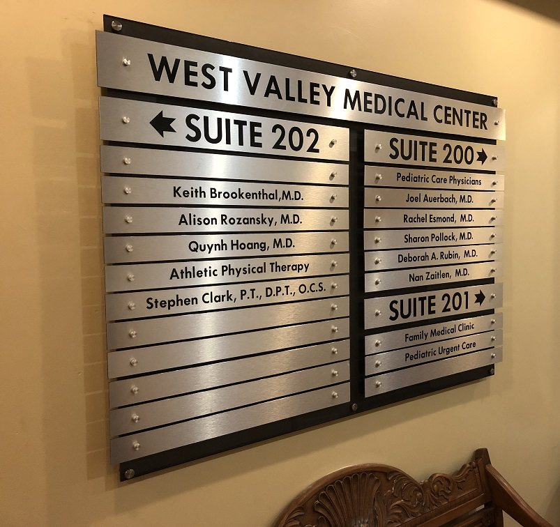 custom sign, custom directory, acrylic, metal sign, property management, office management, medical signs, sign makers, sign companies, encino