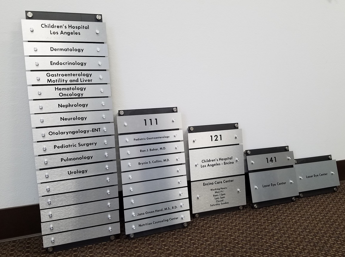custom signs, office signs, building directory, acrylic signs, property manager, office manager, asset management, sign makers, encino, business sign