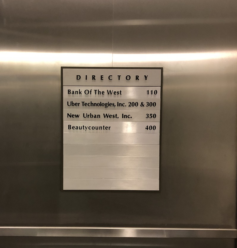 metal sign, brushed metal signage, office directory, lobby signs, acrylic signs, sign companies, los angeles, directory inserts, building directory, tenant directory,