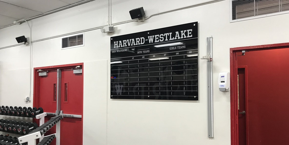 custom signs, record board, glass signage, magnetic sign, gym signage, education signage, sign makers, studio city, magnetic record board