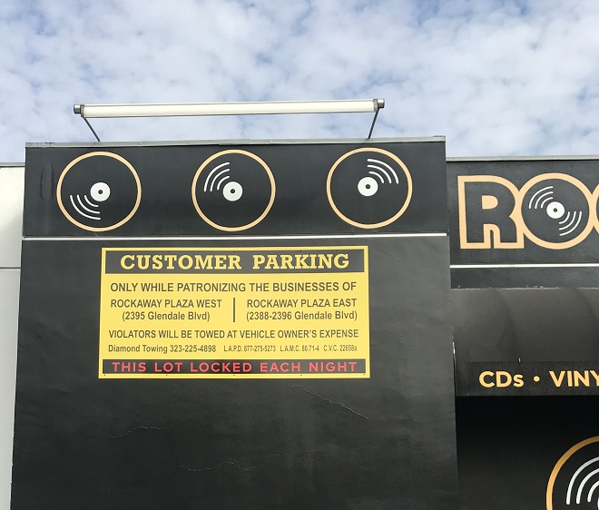 custom signs, metal signs, exterior signs, parking signs, record store signs, music signs, sign company, glendale, custom parking lot signs
