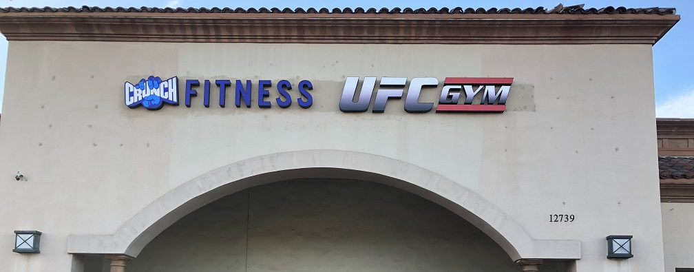 channel lettering, building sign, sign removal, sign repair, fitness industry, gym signs, exterior signage, rancho cucamonga