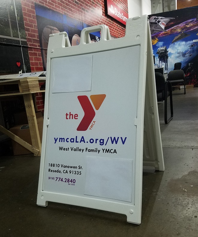 custom a-frame sign, custom signs, custom a-frame, a-frame, sandwich board, sign companies, san fernando valley, ymca
