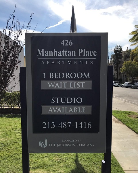 post and panel, post and panel sign, wood signs, exterior signs, real estate, property management, asset management, los angeles