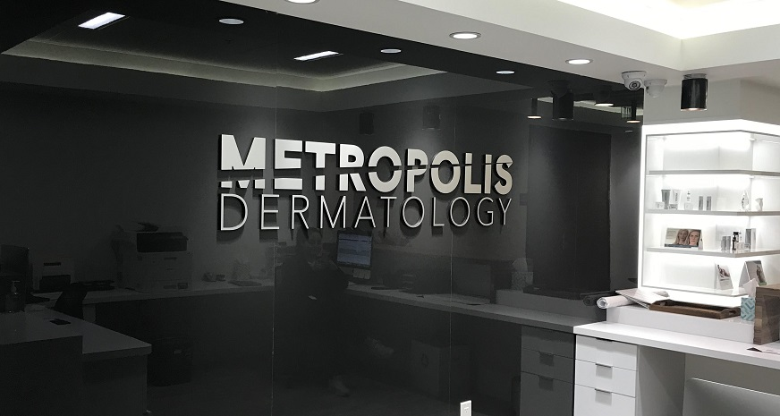 Clinic Lobby Sign for Metropolis Dermatology in Downtown Los