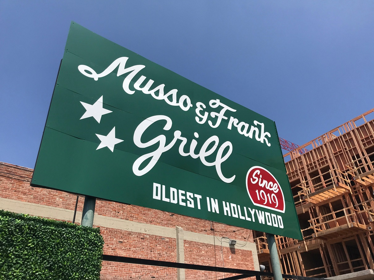 Hollywood, Musso & Frank Grill, restaurant sign, custom sign, hand-painted metal sign, metal sign, outdoor sign, storefront sign, sign company, sign and banner company near me, tarzana, business signs, , sign companies, sign company near me, sign making, sign resource and like companies, signs for sale for business, business signage, sign logo, sign logo stand, where to make my logo sign