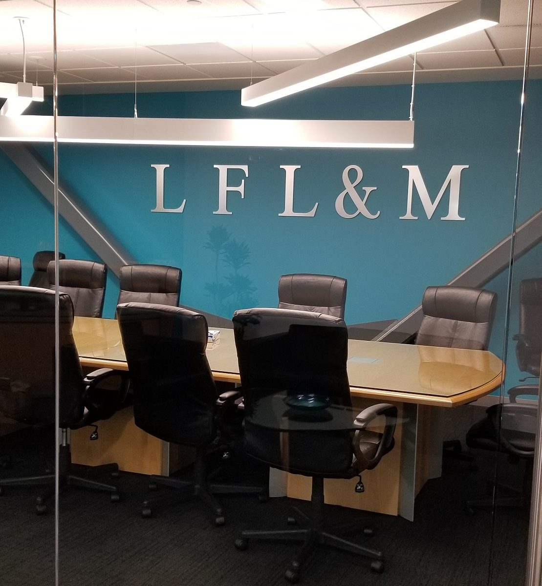 law firm signage, office lobby sign, custom lobby sign, lobby logo, lobby sign for business, metal lobby sign, company lobby sign, conference room lobby sign, business sign, law firm sign, indoor sign, interior sign, dimensional letters, glendale signage, glendale sign, sign company in Tarzana, sign company in San Fernando Valley, custom business signs, company sign
