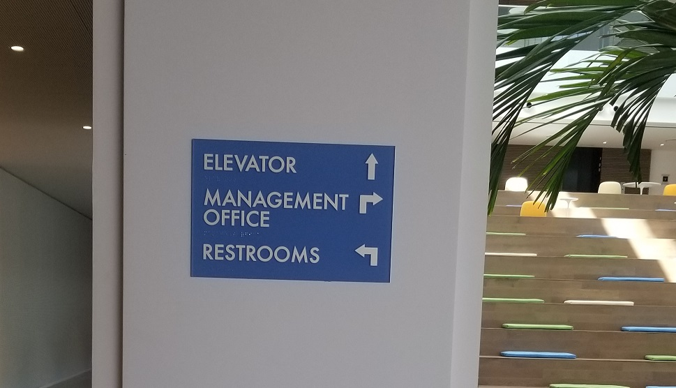 ADA wayfinding signs, ADA signs, braille and tactile signs, wayfinding signs, directional signs, Wayfinding Signs Property Management, Premium Sign Solutions Tarzana, Los Angeles Sign Company, Sign Makers Los Angeles, Custom Sign Company Los Angeles, ADA Compliant Signs Los Angeles, Sign Company El Segundo, Ocean West ADA Wayfinding Signage El Segundo