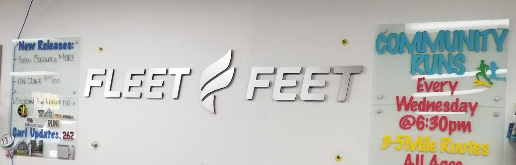 gym lobby sign, Lobby Sign, reception sign, business name sign, metal sign, Fleet Feet Lobby Sign, Acrylic Lobby Signs, Metal Lobby Signs, Premium SIgn Solutions, Sign Makers Los Angeles, Encino Sign Company, Interior Signs Los Angeles